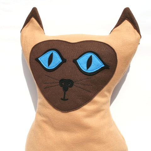 Big Kitty - Large Eco Felt Siamese Cat Pillow Cover - Studio Arethusa  - 1
