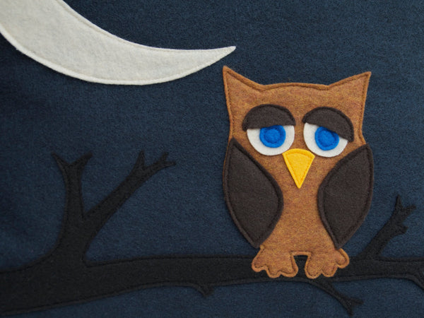 Little Owl Dreaming of Flying to The Moon and Back Eco-Felt Pillow Cover 18 inches - Navy Blue - Studio Arethusa  - 2
