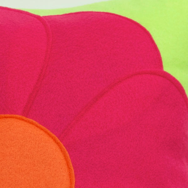 Pink Flower Power Pillow Cover Eco Felt - 18 inches - Neon Green and Shocking Pink - Studio Arethusa  - 2