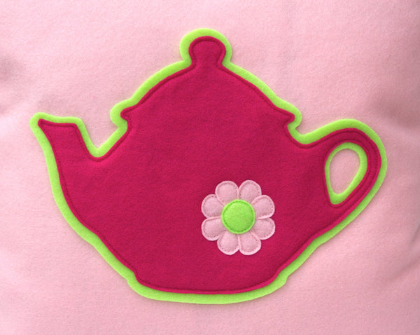 Pink Teapot Eco-Felt Pillow Cover - 18 inches - Baby Pink and Shocking Pink - Studio Arethusa  - 2
