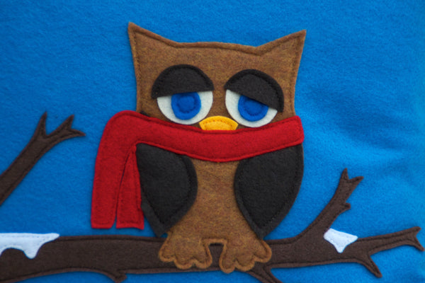 Little Owl in Winter- Appliqued Pillow Cover Blue Eco-Felt - 18 inches - Studio Arethusa  - 2