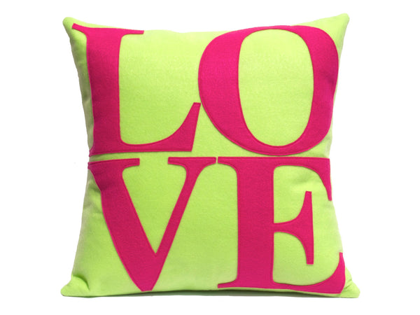 LOVE Pillow Cover Spring Green and Pink 18 inches - Studio Arethusa  - 2