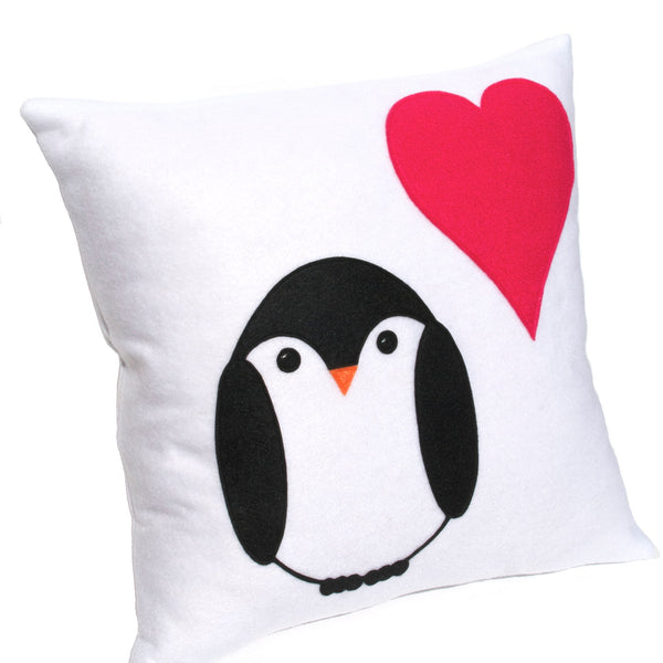 Penguin Love Pillow Cover 18 inches - Studio Arethusa  - 2