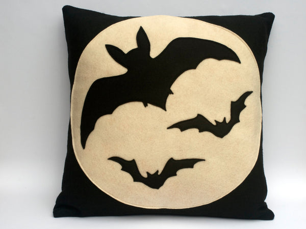 Bats Over the Moon - Full Moon Series 18 inch Pillow Cover - Studio Arethusa  - 3