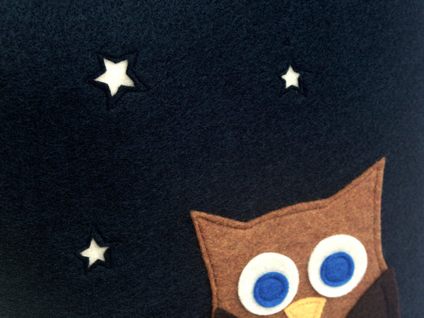 Little Owl Made it to The Moon Throw Pillow Cover - Navy Blue Eco-Felt  - 18 inches - Studio Arethusa  - 2