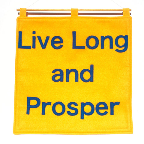 Live Long and Prosper Wall Hanging Gold and Science Blue - 18 inches - Studio Arethusa  - 1