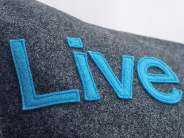 Live Long and Prosper- Star Trek Pillow Cover in Charcoal Gray and Science Blue Eco Felt- 18 inches - Studio Arethusa  - 3