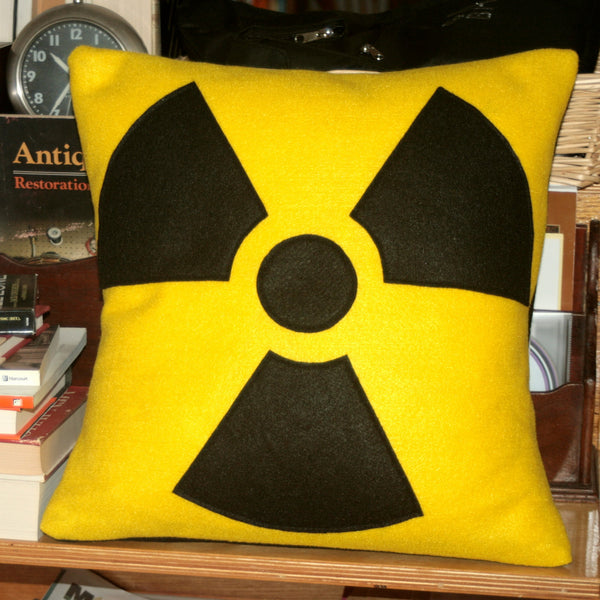 Radiation Hazard Warning Pillow Cover Bright Yellow and Black 18 inches - Studio Arethusa  - 2