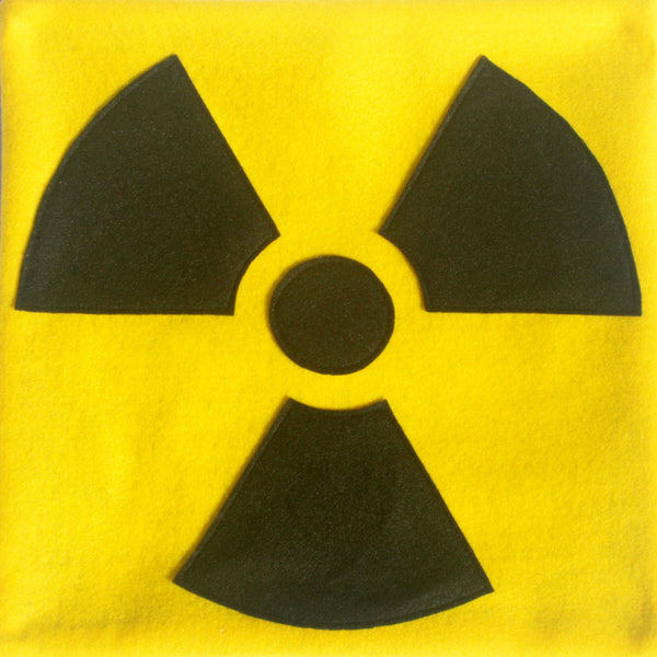 Radiation Hazard Warning Pillow Cover Bright Yellow and Black 18 inches - Studio Arethusa  - 3