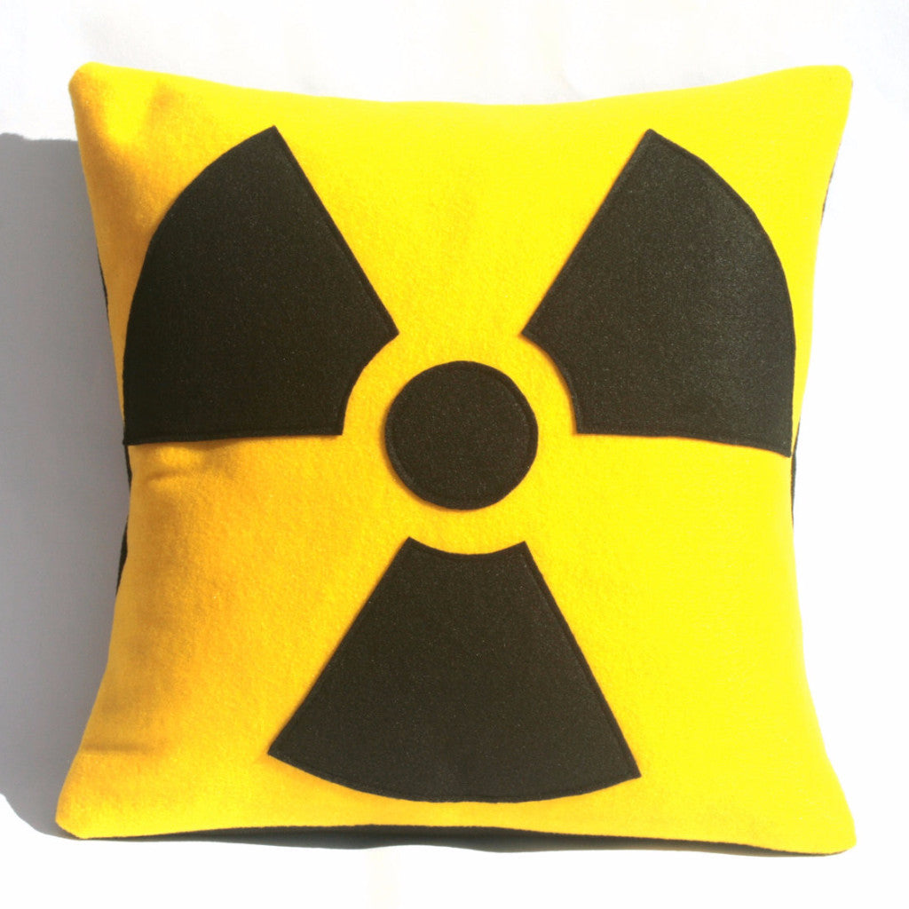 Radiation Hazard Warning Pillow Cover Bright Yellow and Black 18 inches - Studio Arethusa  - 1