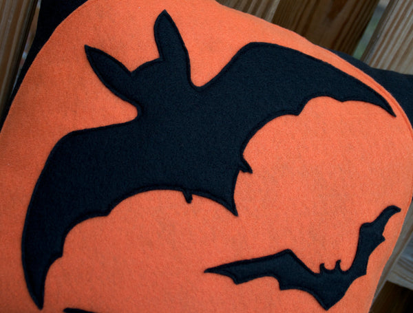 Bats Pillow Cover Orange on Black 18 inches - Studio Arethusa  - 2