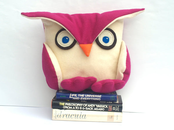 Fuchsia Disgruntled Owl  - 12 inch eco felt pillow cover - Studio Arethusa  - 4