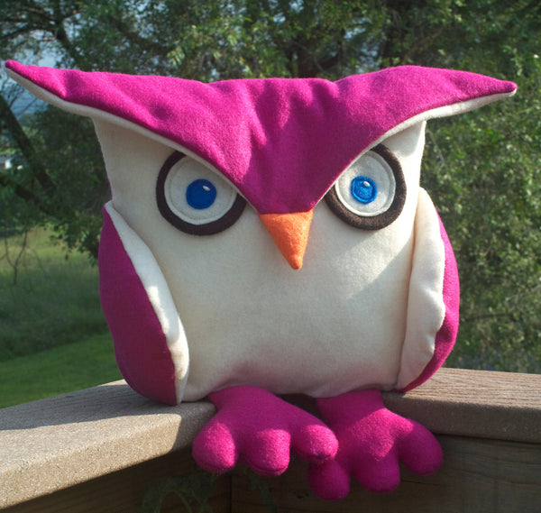 Fuchsia Disgruntled Owl  - 12 inch eco felt pillow cover - Studio Arethusa  - 3
