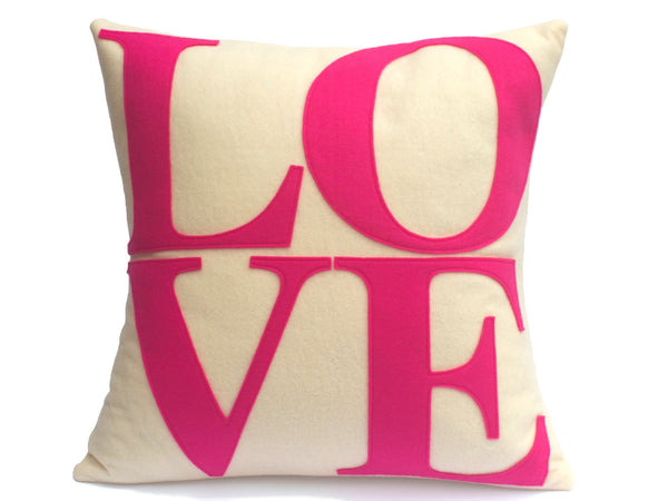 LOVE Pillow Cover Pink and Antique White 18 inch - Studio Arethusa  - 2