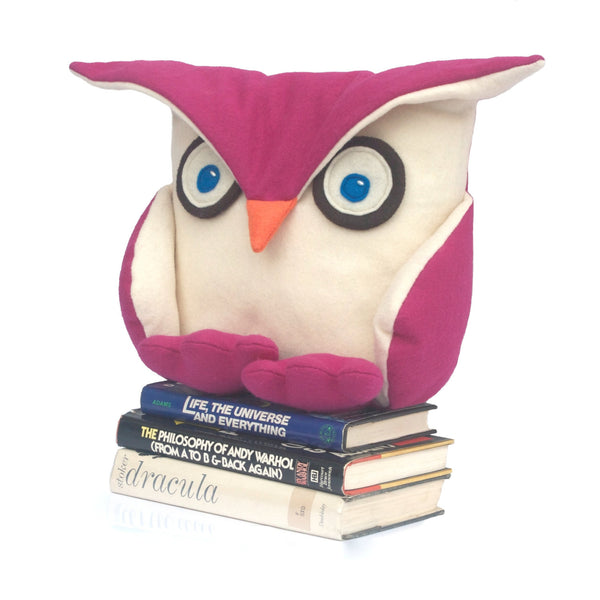 Fuchsia Disgruntled Owl  - 12 inch eco felt pillow cover - Studio Arethusa  - 1