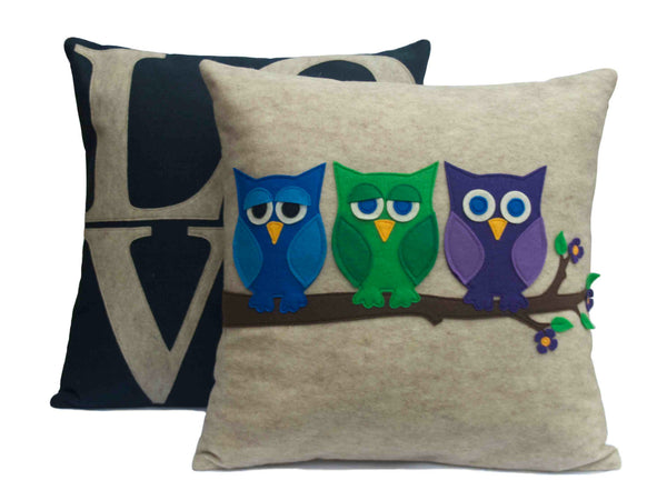 Little Owl Pillow Cover - And Then There Were Three - 18 inches - Studio Arethusa  - 3