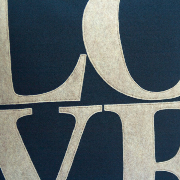 LOVE Pillow Cover Sandstone on Navy Blue  - 18 inches - Studio Arethusa  - 2