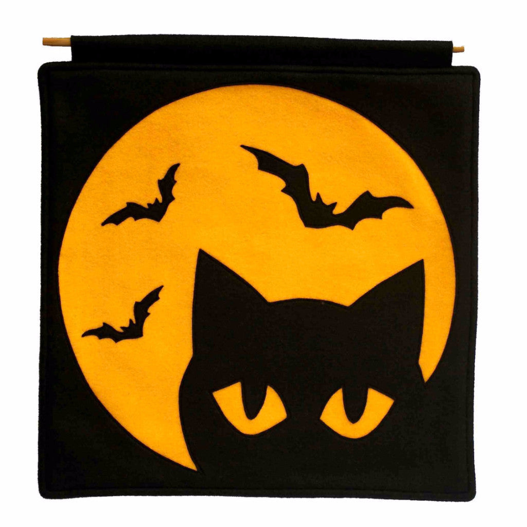 Black Cat and Bats under a Full Moon Eco Felt Banner - Studio Arethusa
