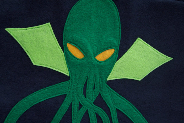 Cthulhu Wall Hanging in Deep Navy and Pirate Green - Studio Arethusa  - 2