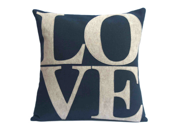 LOVE and Heart Coordinating Sandstone and Navy Pillow Covers  - 18 inches - Studio Arethusa  - 2