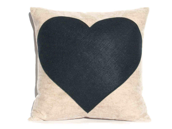 LOVE and Heart Coordinating Sandstone and Navy Pillow Covers  - 18 inches - Studio Arethusa  - 3