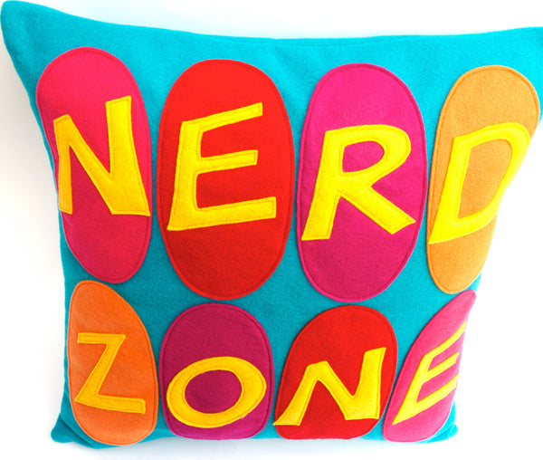 Nerd Zone Pillow Cover Gold, Orange, Pink, Red, and Fuchsia on Peacock - 18 inches - Studio Arethusa  - 3
