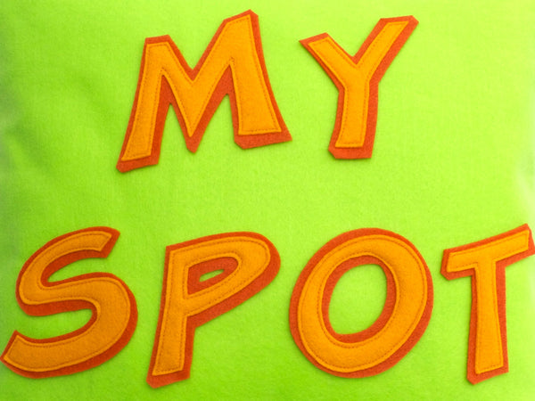 My Spot Pillow Cover in Neon Green, Orange, and Tangerine - 18 inches - Studio Arethusa  - 2
