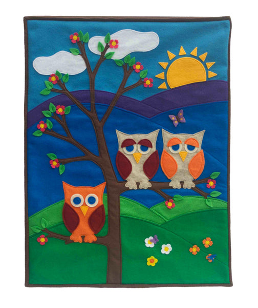 Large Wall Banner - Family of Three done in Felt Appliqué - Studio Arethusa  - 2