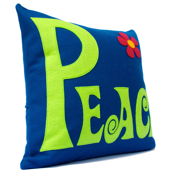 Groovy Peace Appliqued Eco-Felt Pillow Cover Navy and Green - 18 inch Pillow Cover - Studio Arethusa  - 2