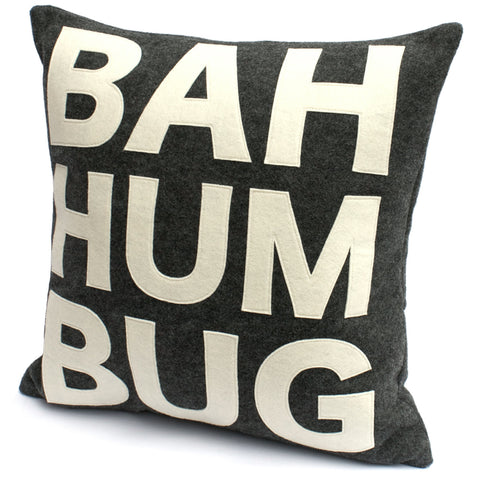Bah Humbug Pillow Cover in Charcoal and Antique White - 18 inches - Studio Arethusa  - 1