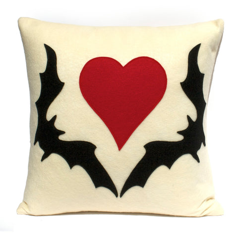 Bat Love Pillow Cover in Antique White with Black and Red - 18 inches - Studio Arethusa  - 1