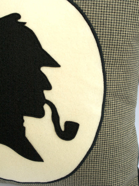 Classic Sherlock Holmes Houndstooth Pillow Cover 18 inch - Studio Arethusa  - 2