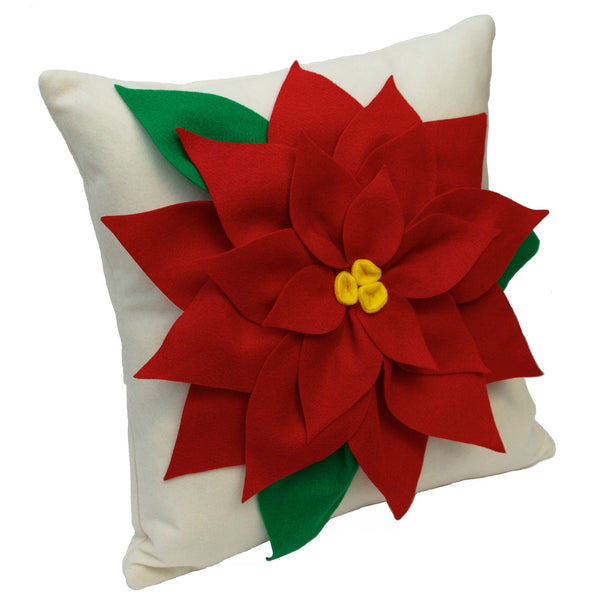 Christmas Poinsettia Pillow Cover Red and Creamy White Eco Felt - 18 inches - Studio Arethusa  - 1