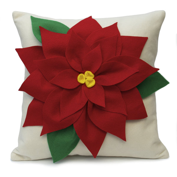 Christmas Poinsettia Pillow Cover Red and Creamy White Eco Felt - 18 inches - Studio Arethusa  - 2