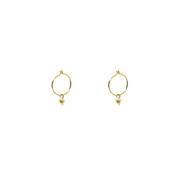 Daisy Hoops | Pearl Gold