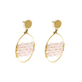 Catch Earring | Gold Rose Quartz