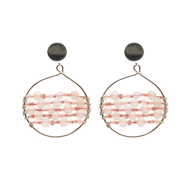 Catch Earring | Silver Rose Quartz
