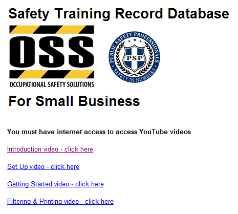 Safety Training Database