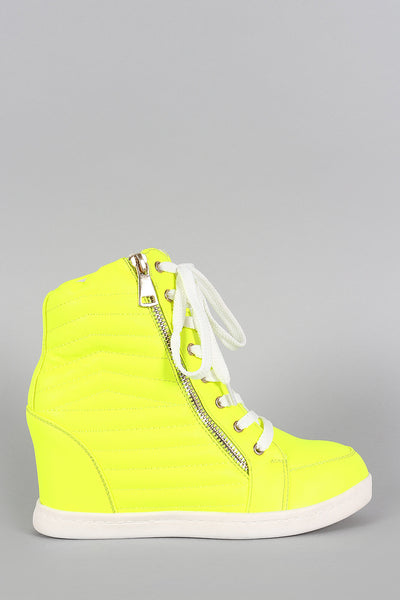 Liliana Neon Quilted High Top Wedge