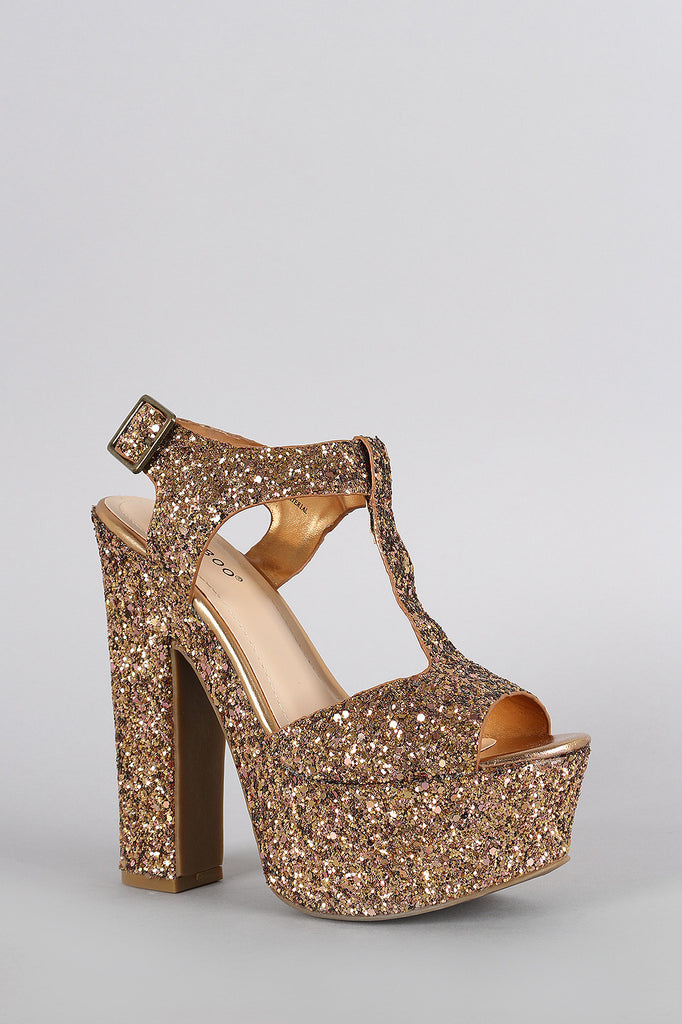 486741f7ca11 Bamboo Glitter Metallic Peep Toe Platform Chunky Heel – The Shoe and ...