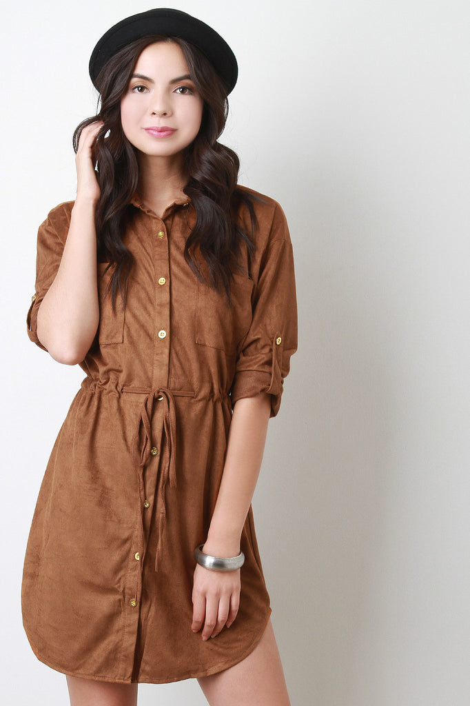professional sale superior materials classcic Suede Collared Drawstring Button-Up Shirt Dress