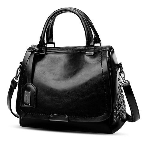 PU Leather Rivet Handbag Large Capacity Shoulder Diagonal Cross Bag