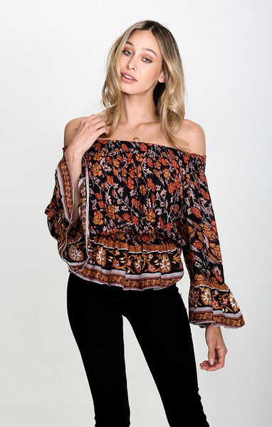 NOSTALGIC BLISS OFF SHOULDER TOP