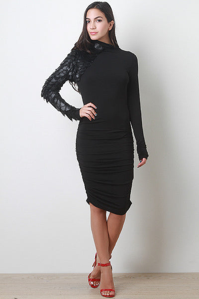Leatherette and Mesh Detail Dress
