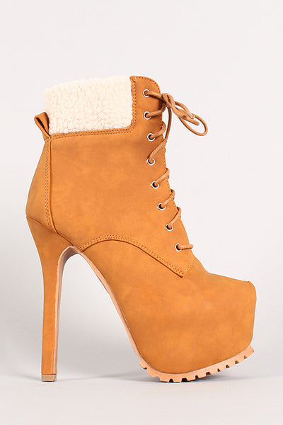 Two-Tone Shearling Collar Platform Stiletto Work Booties
