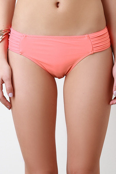 Pleated Side Bikini Bottom