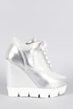 Dollhouse Metallic Lug Sole High Top Wedge Sneaker