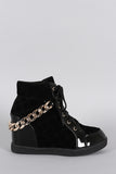 Street Style Rear Chain High Top Wedge Sneaker