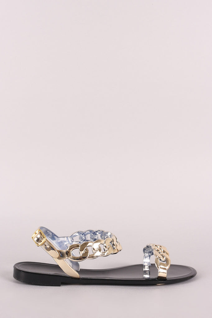 6c289a8767a6 Bamboo Jelly Metallic Chain Flat Sandal – Purposed By Design (Honey ...