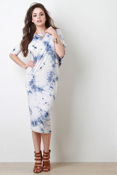 Tie Dye Asymmetrical Dolman Midi Dress